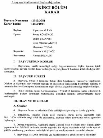 Anayasa Mahkemesinin 20/2/2014 Tarihli ve 2013