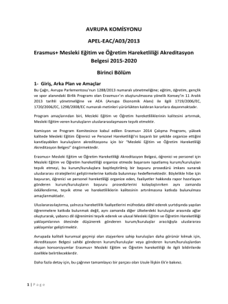 AVRUPA KOMİSYONU APEL-EAC/A03/2013