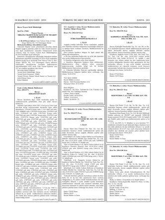 18 haziran 2014 sayı : 8593 türkiye ticaret sıcılı gazetesi sayfa : 243