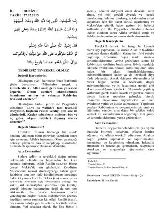27/02/2015 Tedbirsiz Tevekkül Olmaz