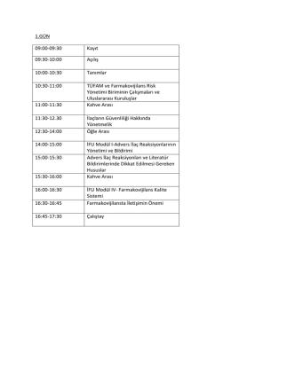 1.GÜN 09:00-09:30 Kayıt 09:30-10:00 Açılış 10:00