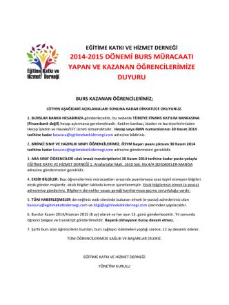 2014-2015 Öğretim Yılında Burs Kazananlar için Bilgilendirme!