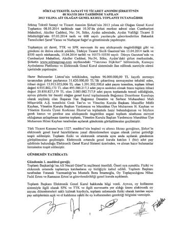 2013 yılı Olağan Genel Kurul Tutanağı