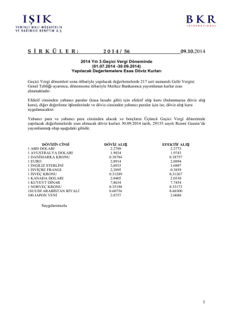 2014 Yılı 3.Geçici Vergi Döneminde (01.07.2014