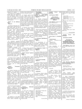 8487 sayılı Türkiye Ticaret Sicili Gazetesi 26.12.2013
