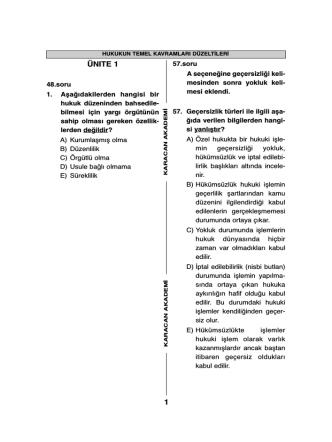 Aöf Nokta Atış 111 Hukukun Temel Kavramları düzeltmeleri için