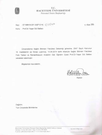Dekan Ataması - Hacettepe Üniversitesi Personel Dairesi Başkanlığı