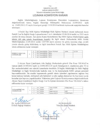 2014 Ekim Ayı Lojman Tahsis Komisyon Kararı