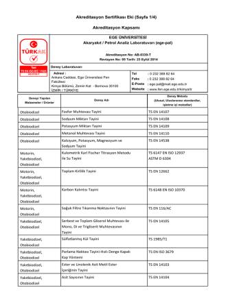 Akreditasyon Sertifikası Eki (Sayfa 1/4) Akreditasyon Kapsamı