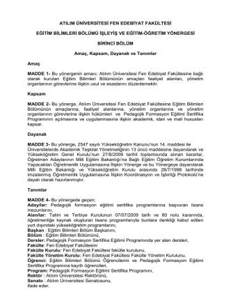 atılım üniversitesi fen edebiyat fakültesi eğitim bilimleri bölümü