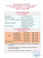 2014-2015 Eğitim-Öğretim Yılı Güz Yarıyılı Sınav