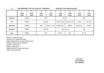 1-C Sınıfı Ders Programı