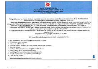 aoTAş GENEL MÜDÜRLÜĞÜ 12113 MART 2014
