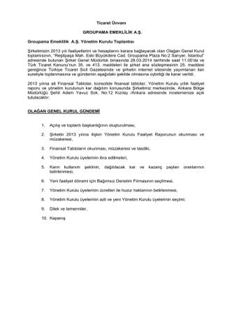 28 Mart 2014 tarihli Groupama Emeklilik A.Ş. Olağan Genel Kurul