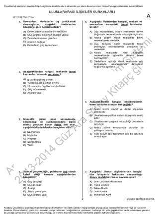 AÖF Uluslararası İlişkiler Kuramları 1 | 2014 Ara Sınav İNDİR