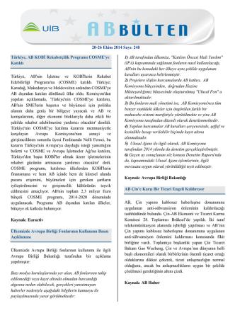 20-26 Ekim 2014 Sayı: 248 Türkiye, AB KOBİ Rekabetçilik Programı