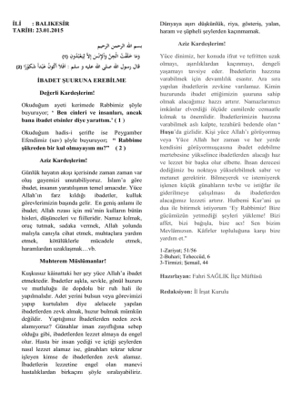 23.01.2015 ibadet şuuruna erebilme