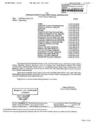 Arpa Satışları Hakkında - Isparta Ticaret Borsası