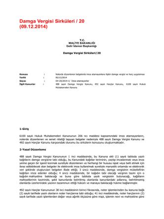 Damga Vergisi Sirküleri / 20 (09.12.2014)