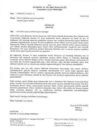 2014/16 - T.C. Gümrük ve Ticaret Bakanlığı