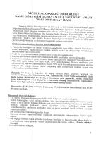 İLAN - Niğde Halk Sağlığı Müdürlüğü