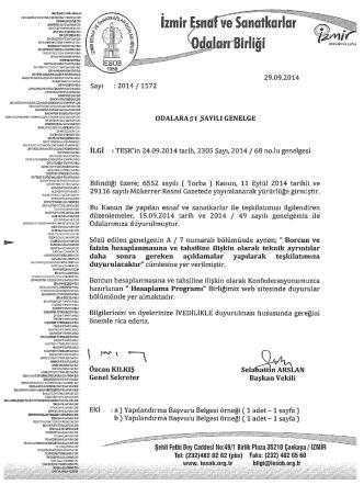 29.09.2014 sayı :2014/1572 - İzmir Esnaf ve Sanatkarlar Odaları Birliği