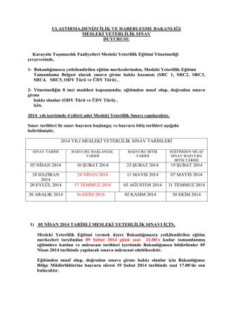 2014 yılı Mesleki Yeterlilik Sınavı(SRC5 dahil)