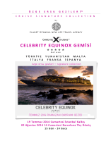Planet İstanbul Celebrity Equinox Ayrıntılı Gemi Programı