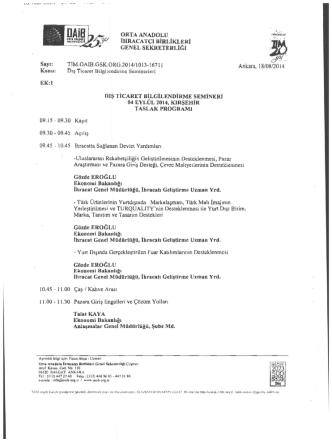 04 Eylül 2014 Kırşehir Dış Ticaret Seminer Programı