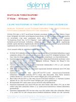 HAFTALIK VERGİ RAPORU 27 Ekim - 02 Kasım / 2014 I. KAMU