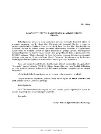 30/12/2014 LİSANSÜSTÜ EĞİTİM BAŞVURU (ÖN KAYIT