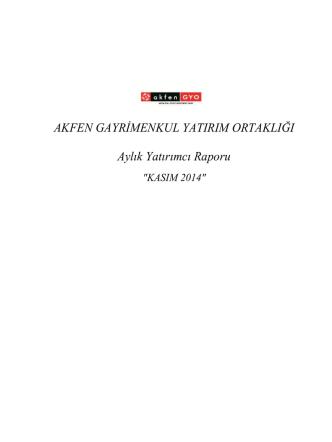 AKFEN GYO Aylık Rapor - KASIM 2014.xlsx