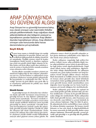 arap dünyasında su güvenliği algısı