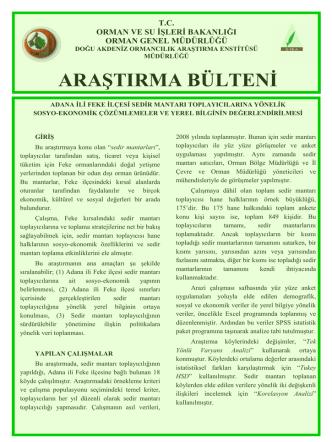 Adana İli Feke İlçesi Sedir Mantarı Toplayıcılarına Yönelik Sosyo