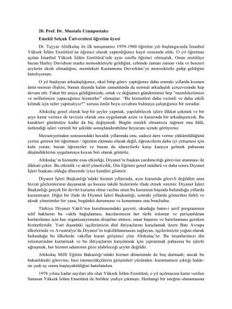 20. Prof. Dr. Mustafa Uzunpostalcı Emekli Selçuk Üniversitesi