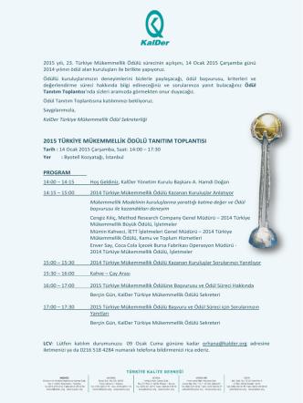 2015 türkiye mükemmellik ödülü tanıtım toplantısı