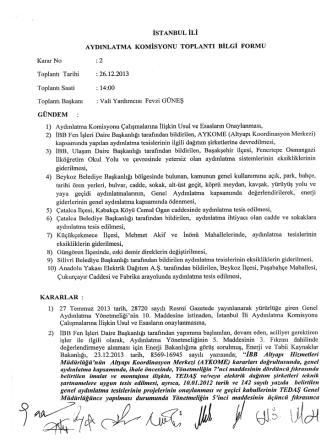 10.12.2013 tarihli Aydınlatma Komisyon Kararları için