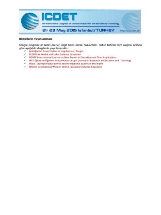 Bildirilerin Yayınlanması Kongre programı ile bildiri özetleri kâğıt