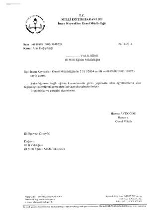Bakanlık Yazısı - Diyarbakır İl Milli Eğitim Müdürlüğü