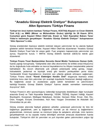 Anadolu Güneşi Elektrik Üretiyor - Türkiye Finans Katılım Bankası