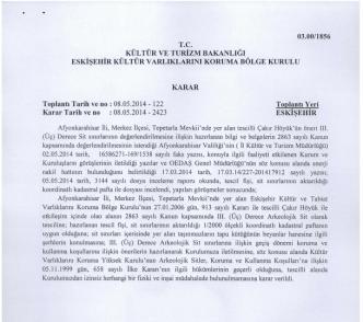 Afyon Merkez Tepetarla Mevkii Çakır Höyük 3. Derece Arkeolojik Siti