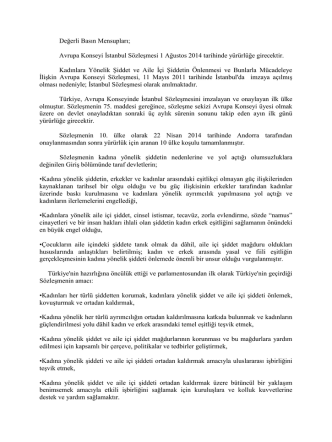 Avrupa Konseyi İstanbul Sözleşmesi İle İlgili Basın Açıklaması