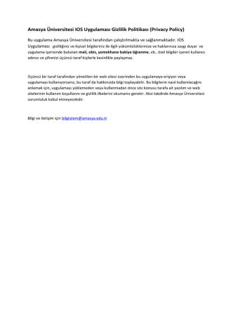 Amasya Üniversitesi IOS Uygulaması Gizlilik Politikası (Privacy Policy)