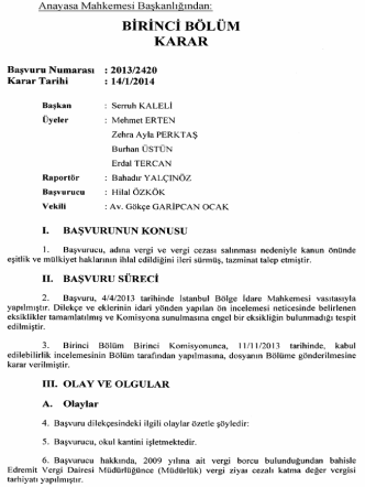 Anayasa Mahkemesinin 14/1/2014 Tarihli ve 2013