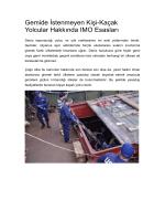 Gemide İstenmeyen Kişi-Kaçak Yolcular Hakkında IMO Esasları