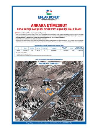 Ankara Etimesgut Arsa Satışı Karşılığı Gelir