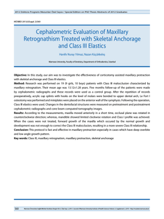 Cephalometric Evaluation of Maxillary Retrognathism
