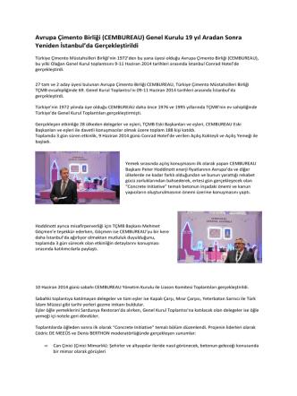 Avrupa Çimento Birliği (CEMBUREAU) Genel Kurulu 19 yıl Aradan