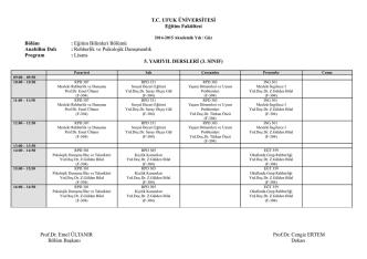 3. Sınıf Haftalık Ders Programı