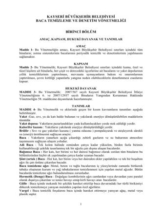 Baca Yönetmeliği - Kayseri Büyükşehir Belediyesi